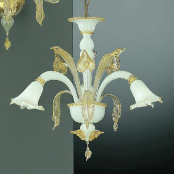 202-3 Chandelier in white with gold details