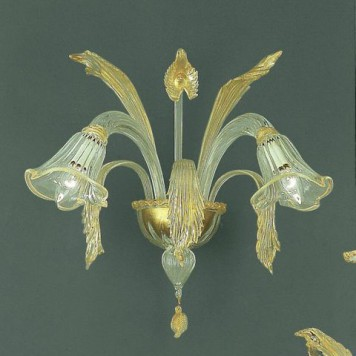 202-A2 sconce in clear glass with gold detial