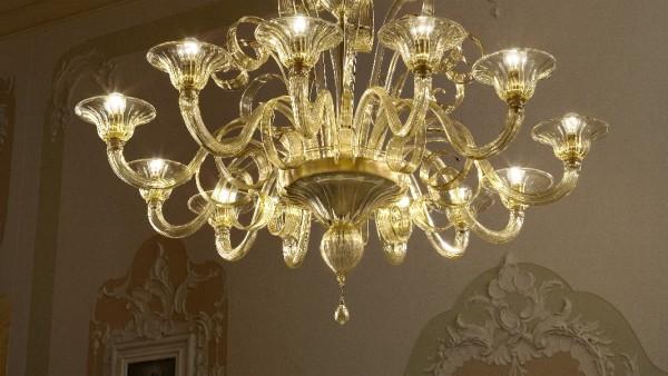 206-12+6 chandelier in amber