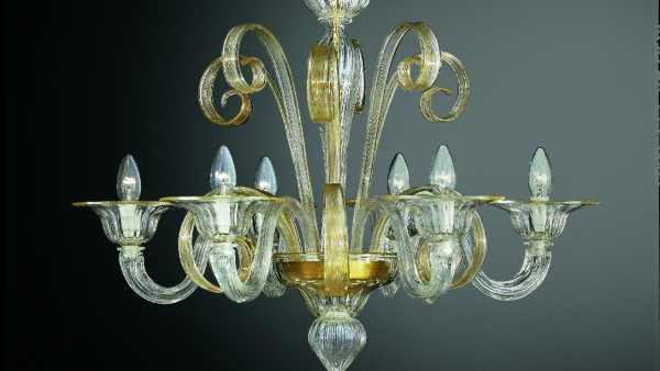206-6 chandelier in clear glass with gold details