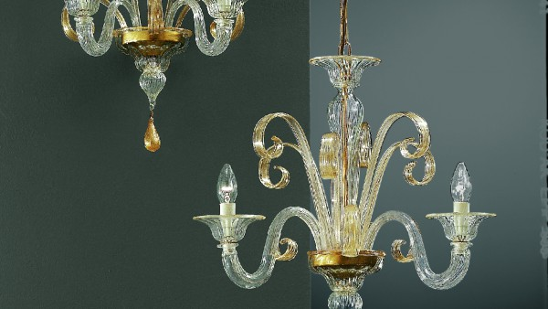 206-A2 sconce  206-3 chandelier in clear glass with gold details