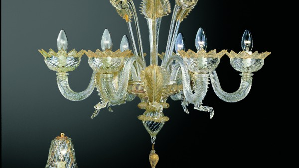 208-6 chandelier 208L-small table lamp in  clear glass decorated in gold details