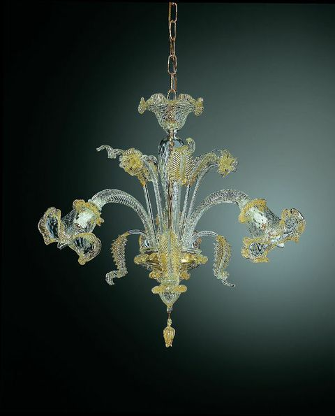 211-3 chandelier in clear glass with gold details