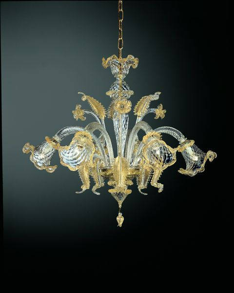 211-6 chandelier in clear glass with gold detial