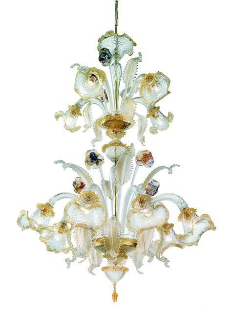 211-8+4 Chandelier in clear glass decorated with 24k gold polycrome diam90 h115cm 12x40W E14