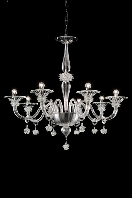 Ajax 8 Chandelier clear dia, 93cm h 108cm.