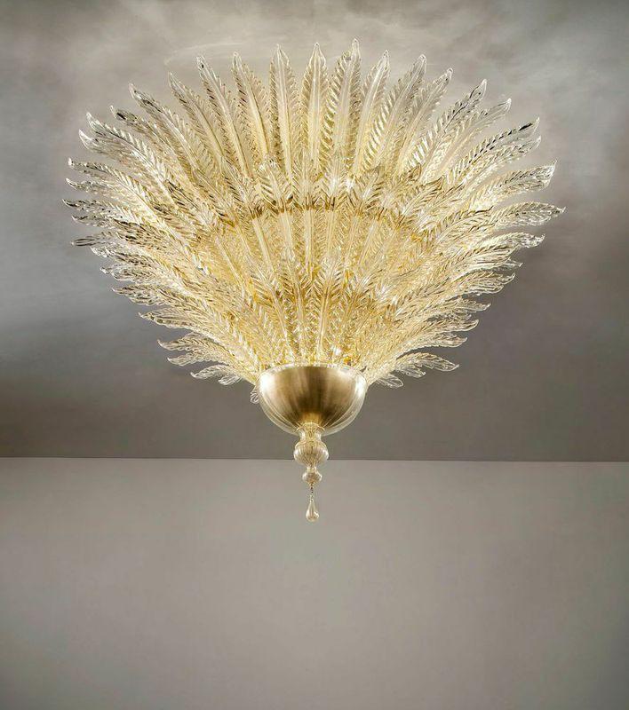 Astoria 110 Foglie  Wall Sconce gold and clear diam145cm h 105cm
