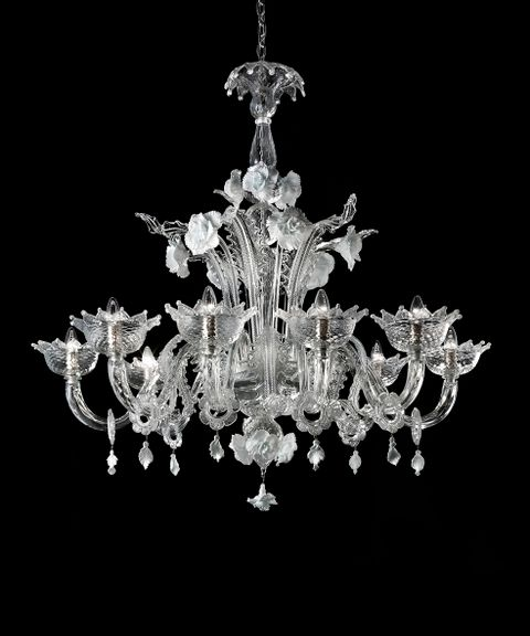 Biancaneve 8 chandelier clear with white detail diam120 h110cm