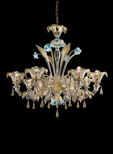 Colesseo8 clear glass with gold and light blue decorations diam100cm h 90cm. (2)