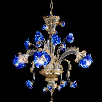 Florito-3 Chandelier clear with gold polychrome diam 90cm. h60