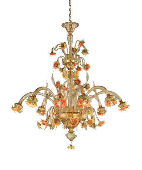 Girasole-10C Chandelier amber with orange and green diam 110 h130cm