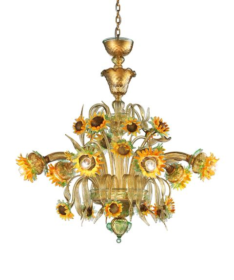 Girasole-6 (C) chandelier amber with orange and green  diam90 h90cm