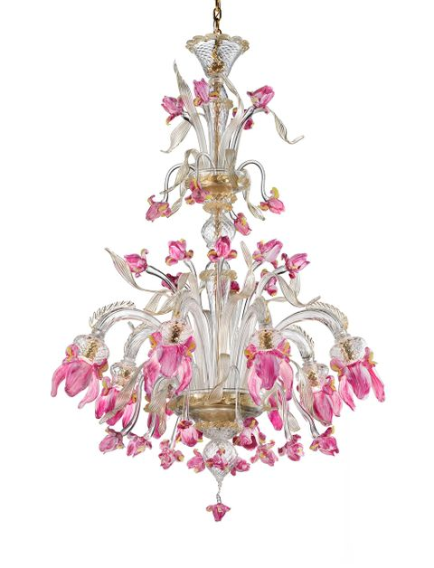 Iris8C clear with gold and pink trim diam100cm.h130cm.
