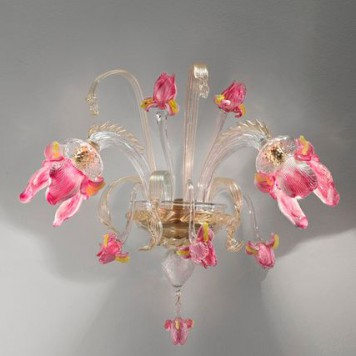 IrisA2 (7070-A20clear with gold and pink trim diam 50cm, h40cm  sp 30cm