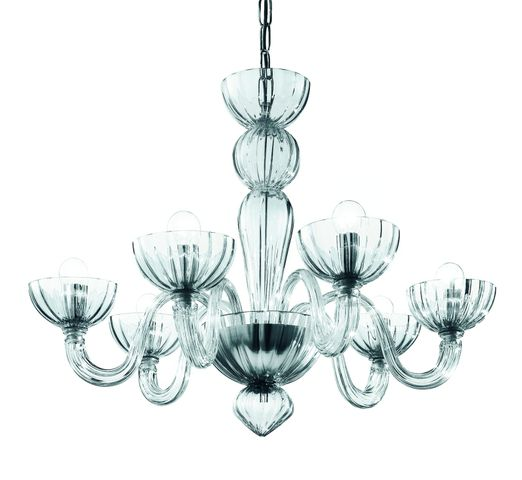 Mimo 6- Chandelier in clear glass; also amber, amethyst, blue,red diam 70 h50