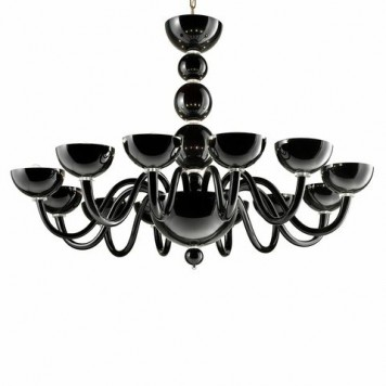Mirabella 12 Chandelier black with transparent details diam 120  h95cm