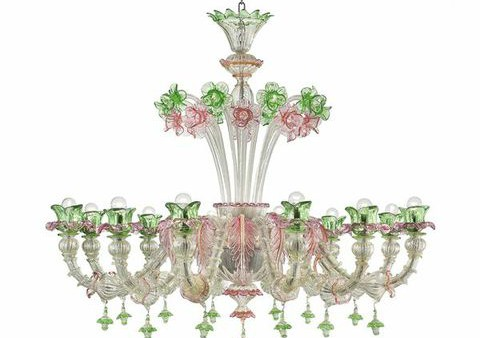OD 12silver trimmed with pink and green diam120 h100cm