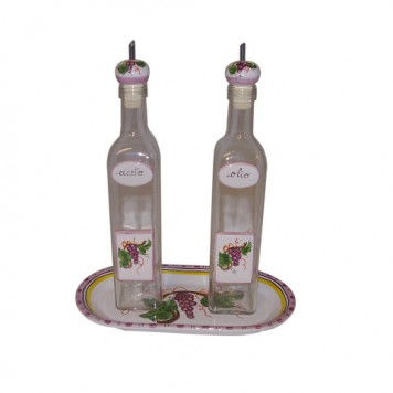 Oil-vinegar set with tray U1017 tray 26x14cm  single bottle 0.5liter
