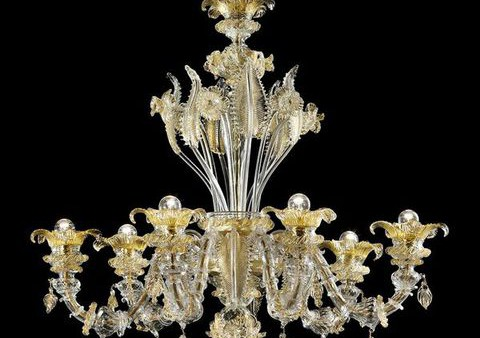 Roma 6 Chandelier in clear glass decorated in gold diam 100 h85cm