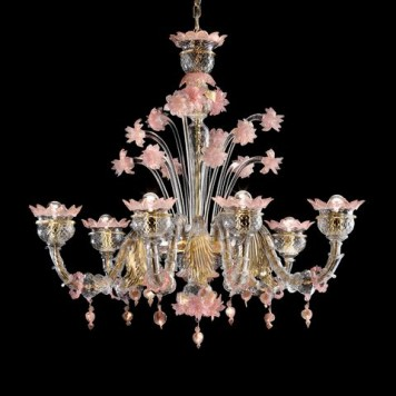 San't Angelo6 clear with gold and pink glass details diam95cm h90cm